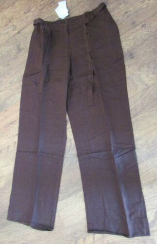 NWT BROWN LINEN BLEND TROUSERS 12 14 16 18 20 AVAILABLE RRP £30