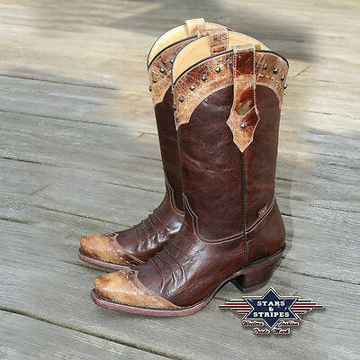 """Donna Country Cowboy Stivali In Pelle Western-boots Marrone """"wbl-28« Stars & Stripes-"""