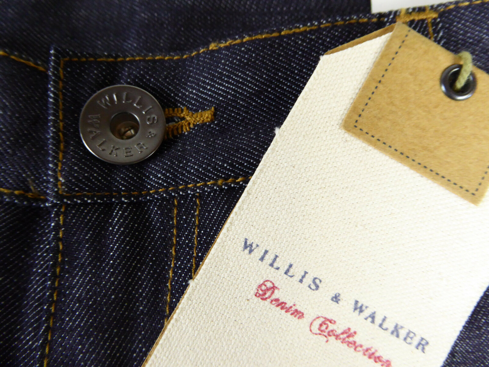 Willis & Walker Dark bluee Denim Jeans Straight Fit Twist  with Leather Badge