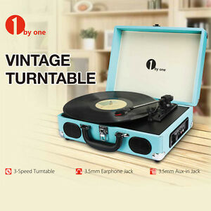 Briefcase-Record-Player-3-Speed-Preamplifier-Vintage-Vinyl-Belt-Drive-Turntable
