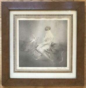 LOUIS-ICART-RARE-GRAVURE-ORIGINALE-1926-FEMME-AUX-DEUX-COLOMBES-ORIGINAL-ETCHING