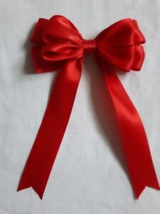 """5 or 10 4/"""" Double Satin Bow In Yellow  Packs of 2 Large Handmade 10cm"""