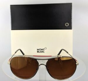 256738b899 Brand New Authentic Mont Blanc Sunglasses MB 703S 32H Gold 61mm ...