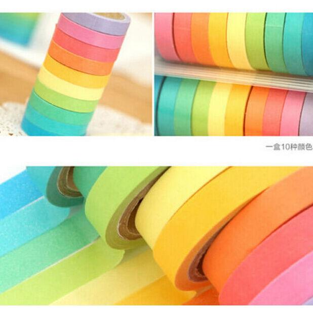 FD1862 Rainbow Adhesive Paper Tape Decorative Washi Sticky Scrapbooking 10PCs G