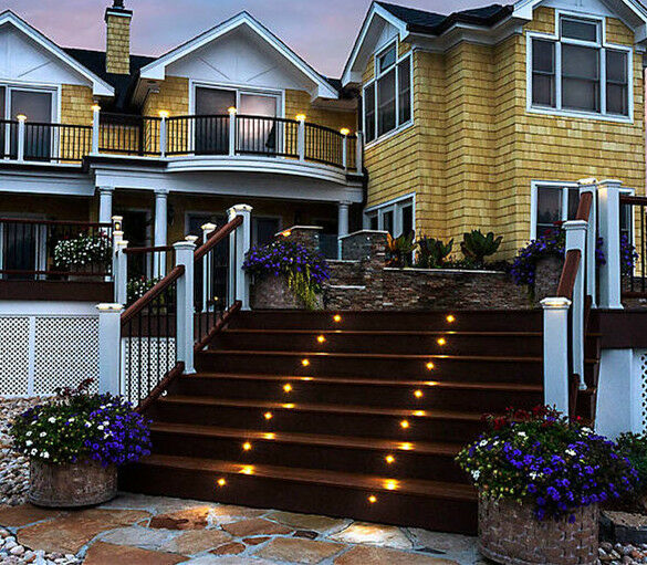 mm 0.6 W Al Aire Libre Luz Escalera LED Terraza Escalera Luz Riel de la vía Jardín Lámpara puntual Inground f33534
