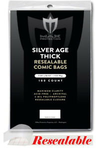 Pack-100-Max-Pro-RESEALABLE-Silver-THICK-Comic-Book-Acid-Free-Archival-Poly-Bags