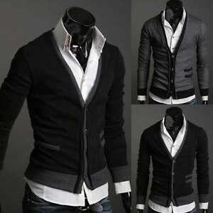 ST94-New-Mens-Casual-Slim-Fit-Long-Sleeve-Sweaters-Shirts-2-colors