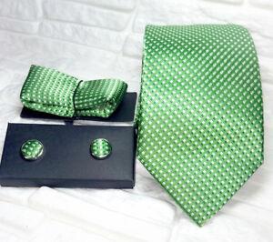 Herren-Krawatte-Manschettenknoepfe-einstecktuch-Gruen-Seide-Made-in-Italy-hochzeit