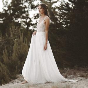 Details About Beach Wedding Dresses Lace Top Chiffon Open Back Bride Dress Boho Wedding Gown
