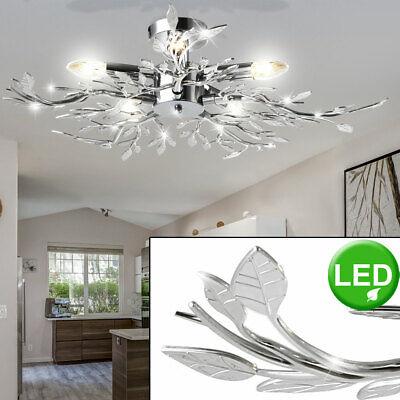 9 Watt LED Decken Leuchte Kerze Chrom Lampe Blätter Dekor Wohnzimmer Deckenlampe
