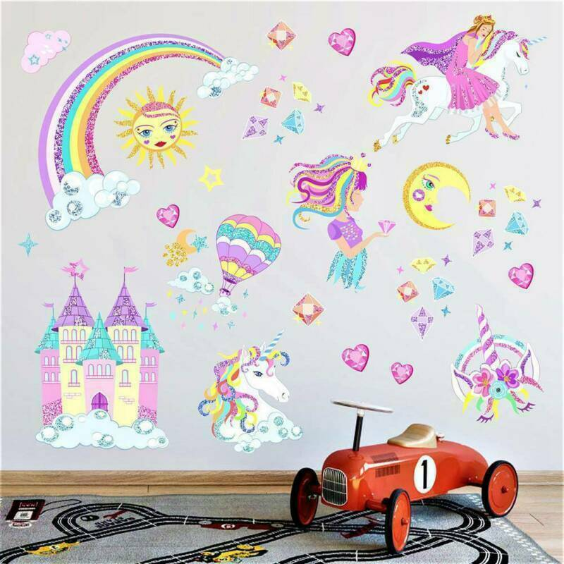 Einhorn Wandtattoo Wandsticker Wandbild Aufkleber Unicorn Kinderzimmer Mädchen