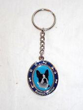 New Boston Terrier Dog Paw Print & Bone Spinning Keychain Key Ring Holder