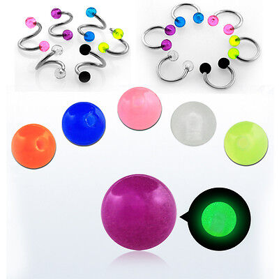 1-10PC 3mm Acrylic Glow in Dark Balls 16G Threaded Piercing Jewelry Replacements
