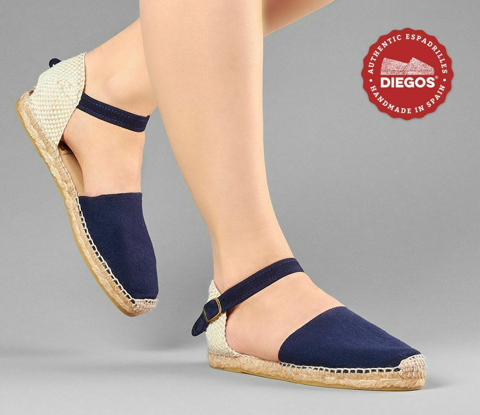 Diegos® Traditional navy bluee flat Carmen espadrilles   Hand made in Spain