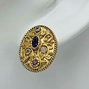 Dallas-Prince-925-over-Gold-Ornate-Amethyst-Sapphire-Earrings