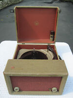 Vintage Mid Century Voice of Music Portable Triomatic Tube Amplified Turntable