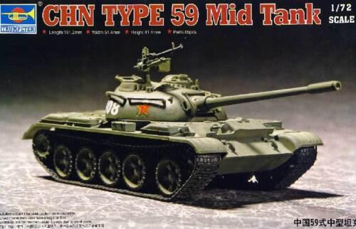 Trumpeter CHN Type 59 Mid Tank Chinese Panzer Modell-Bausatz 1:72 China kit T-54