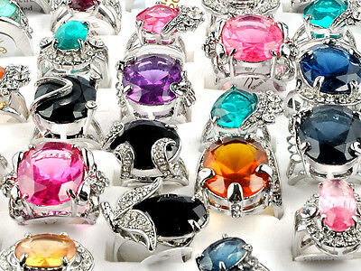 wholesale jewelry lots 5pcs Big stone silver plated Rings Fashion Kids Ring Set