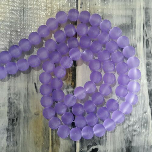 Frosted Glass Beads 8mm Approx 105 pce  Free Postage Oz Seller Medium Purple