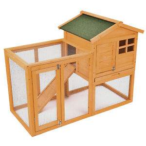 56-034-Wooden-Rabbit-Hutch-Bunny-House-Small-Animal-Pet-Cage-w-Backyard-Run-Ramp