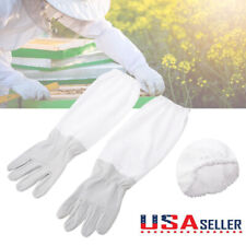 1 Pair Xl Beekeeping Protective Gloves Goatskin With Vented Long Sleeves 50 53cm