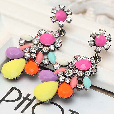wholesale design women gorgeous bib statement  mixed crystal long Earrings e309