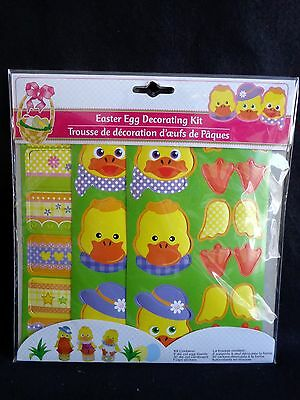 Easter Egg Decorating Kit Yellow Duck Duckling Die Cut Stands Stickers New