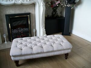 Image Is Loading Chesterfield Oxford Deep Oned Large Footstool Coffee Table