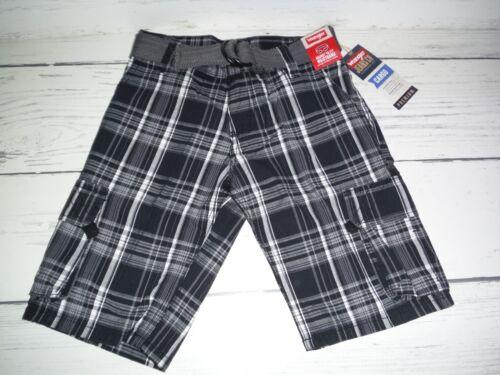 NWT Boys Wrangler Black White Gray Plaid Cargo Shorts w// Belt