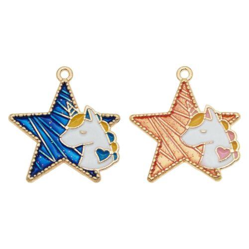10 un.//Paquetes Surtidos mezclado Esmalte Star Unicornio Aleación Colgante Joyería Accesorios