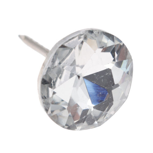 20x Diamond Pattern Crystal Studs Upholstery Nails Button Tacks Pins Wall Decor