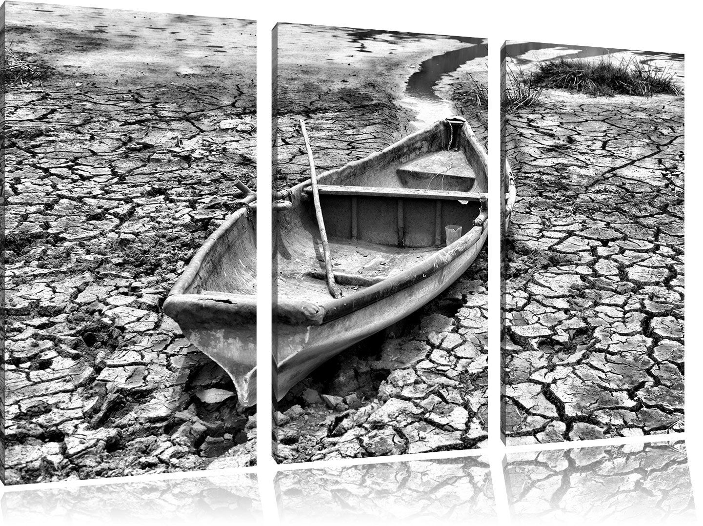 Barca Nella Siccità 3-Teiler Quadro su Tel Decorazione Parete Stampa Artistica