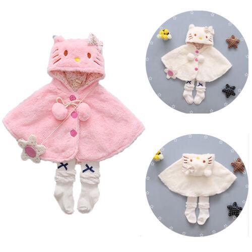 Toddler Baby Girls Plush Cat Hooded Cloak Poncho Jacket Outwear Kids Warm Coat