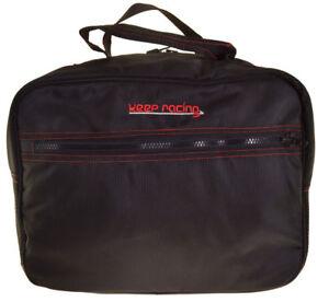 keep-racing® Helmtasche schwarz, rote Nähte, Zusatztasche, weiches Innenfutter