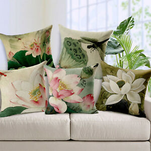 Vintage Standard Linen Plant Pillow Case Waist Throw Cushion Cover ...