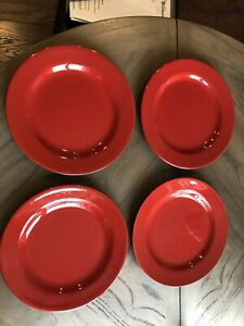 Pier-1-Earthenware-Red-Set-Of-4-Dinner-Plates-10-1-2-Inch
