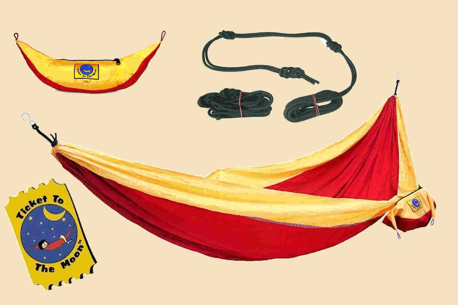 TTTM Doppelhängematte  Reise- Hängematte bis 200 kg red - yellow oder Seil zur Wahl  on sale