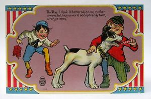 circa 1909 THE DOG I THINK IT BETTER SKIDOO 4th of July CARTOON postcard