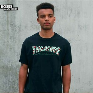 Thrasher-Magazine-ROSES-LOGO-Skateboard-Shirt-BLACK-XL