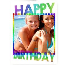 Any Photo, A5 Happy Birthday Colourful Occasion Card With Colour Envelope