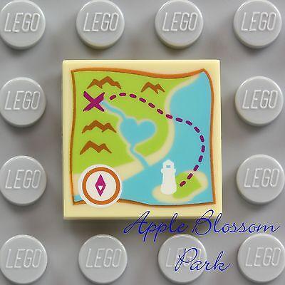 Friends Heart Lake Tan Pirate Map NEW Lego TREASURE MAP 2x2 Printed FLAT TILE