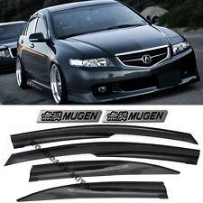 For 04-08 Acura TSX Mugen Style Smoke TintedWindow Visors Rain Guards + EMBLEMS