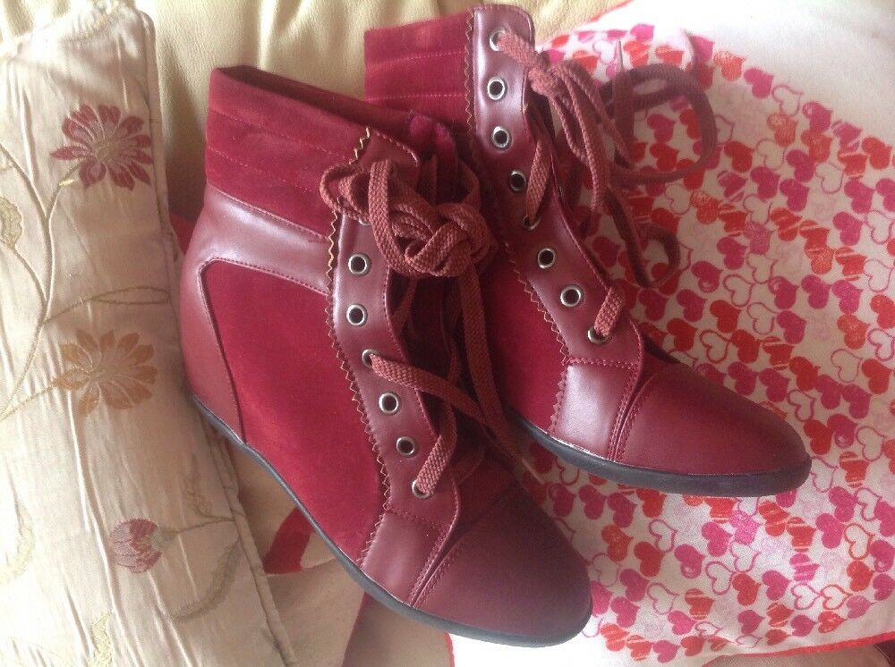 Fantastic Red Wine Suede Wedge Ankle Boots By Jolyvia Size 5 (38) With Box