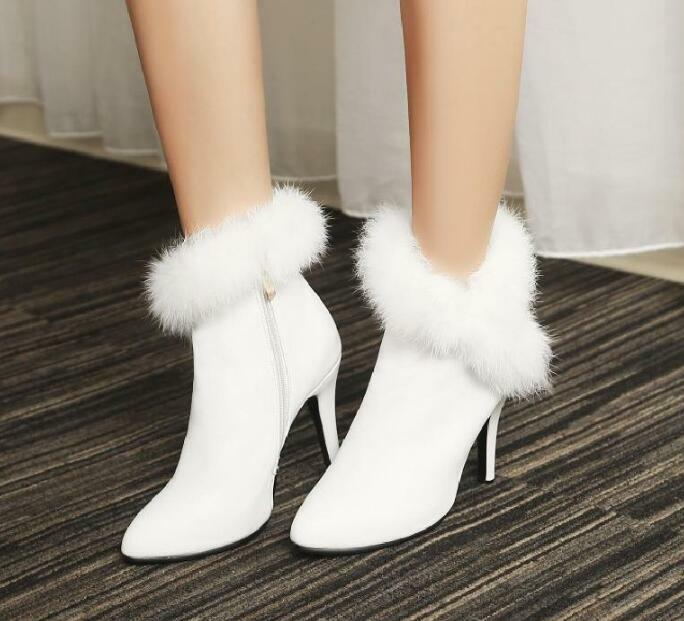 Womens Ankle Boots Korean Faux Fur Stilettos Heels Pointed Toe Shoes Side Zipper
