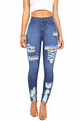 Womens New Vibrant Stretchy High Rise Skinny Jeans w Distressing Skin Tight Fit