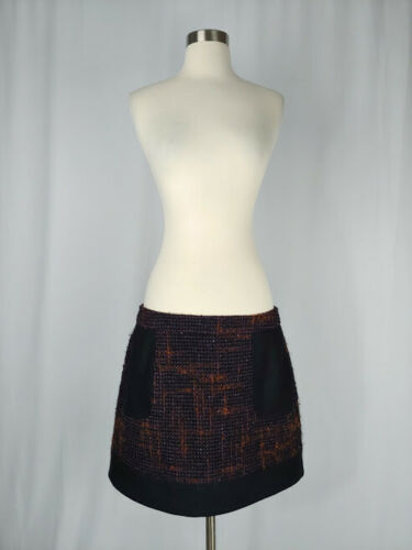 Red Valentino IT 48 Purple Orange Tweed Mini Skirt