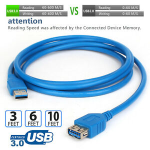 Super-Speed-5Gbps-USB-3-0-Type-A-Male-to-Female-Extension-Cable-Cord-3-6-10ft