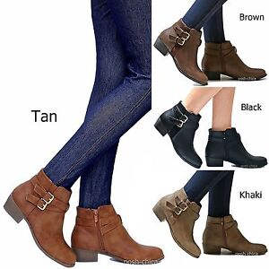 050c3a35d5e17 New Women TCH Black Tan Western Ankle Booties Riding Low Heel Boots ...