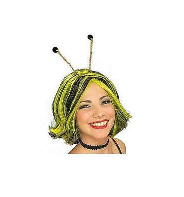 Black and Yellow Queen Bee Costume Wig with Antenna