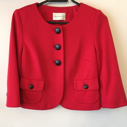 Big Black Jacket Minuet con Smart Uk Size Red Button Work Bright 8 rxIHwY0qH